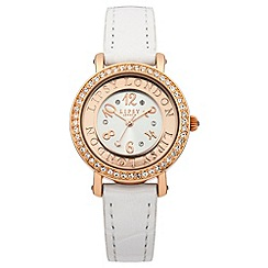 Lipsy - Ladies white skinny croc strap watch with rose gold tone dial