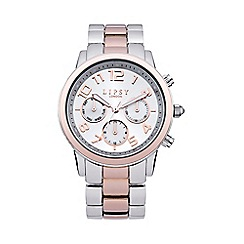 Lipsy - Ladies two tone bracelet watch with silver dial lp130