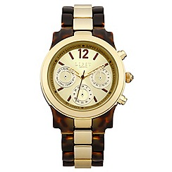 Lipsy - Ladies brown plastic bracelet watch with gold coloured dial