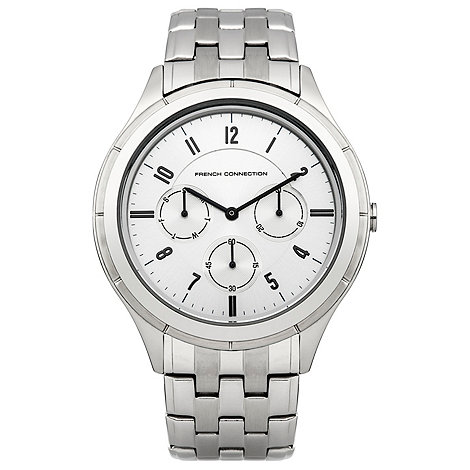 French Connection - Men+s stainless steel bracelet watch with silver multi dial