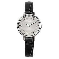 French connection - Ladies black croc strap watch with silver dial