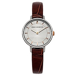 French Connection - Ladies brown croc leather strap watch with silver coloured dial