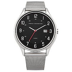 French Connection - Men's stainless steel strap watch with black dial