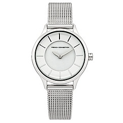 French Connection - Ladies stainless steel mesh strap watch with white dial