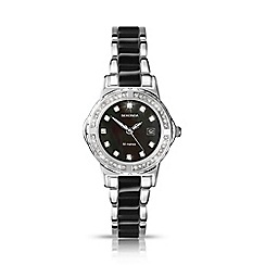 Sekonda - Ladies watch with chrome and black coloured bracelet 4084.28