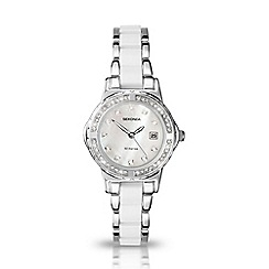 Sekonda - Ladies chrome case with chrome and white coloured bracelet