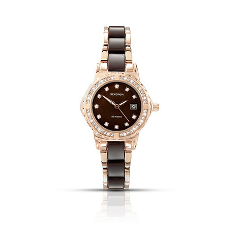 Sekonda - Ladies rose gold plated and brown bracelet watch