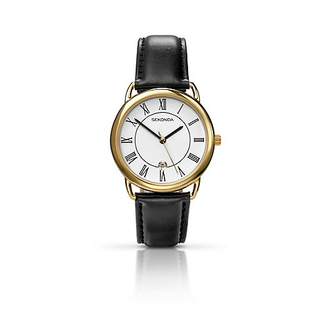 Sekonda - Men+s black leather strap