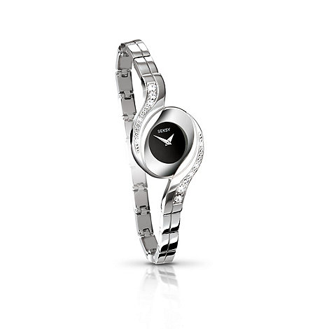 Seksy - Ladies black dial silver chrome fashion watch