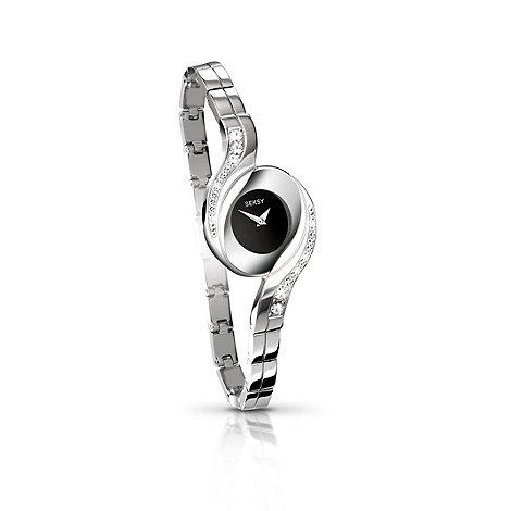 Seksy - Ladies black dial silver chrome fashion watch