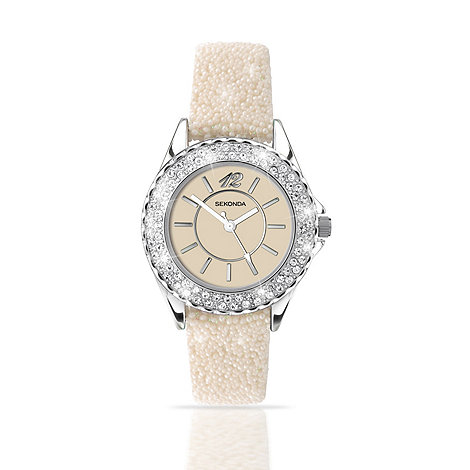 Sekonda - Ladies cream dial moc stingray strap watch