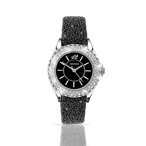 Sekonda - Ladies black glitter round dial fashion watch