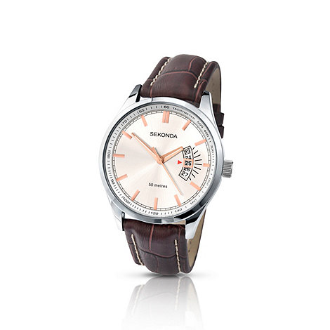 Sekonda - Men+s brown leather strap watch