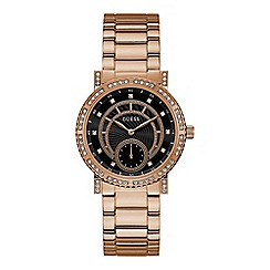 Guess - Ladies rose gold analogue watch W1006L2