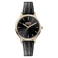 Barbour - Ladies black 'emberton' leather strap watch
