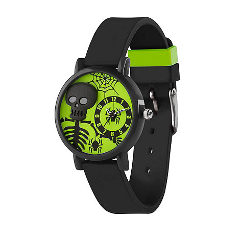 Tikkers - Kids+ black silicone strap 3D skelelton watch
