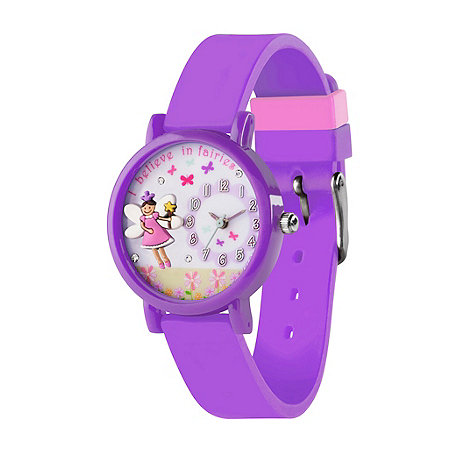 Tikkers - Kids+ purple silicone strap 3D fairy watch