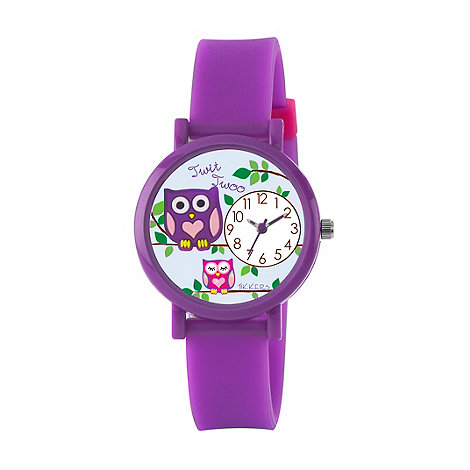 Tikkers - Kids+ purple silicone strap 3D owl watch