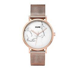 Cluse - Ladies rose gold 'La Roche' mesh bracelet watch
