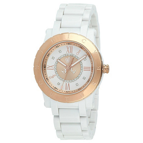 Juicy Couture - Ladies white contrast case bracelet watch