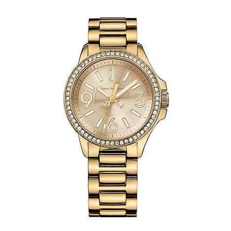 Juicy Couture - Ladies gold pave bezel watch