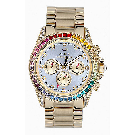 Juicy Couture - Ladies gold rainbow diamante chronograph watch