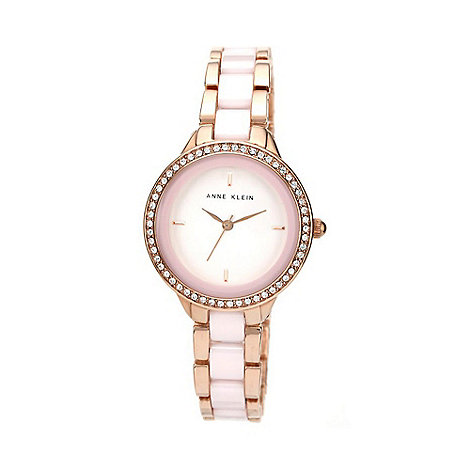 Anne Klein - Ladies rose gold and blush pink ceramic swarovski watch