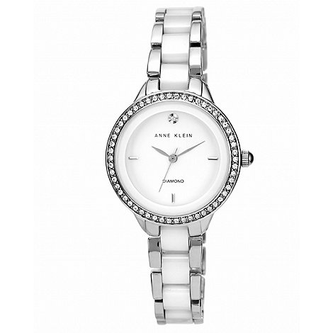 Anne Klein - Ladies silver and white ceramic swarovski watch