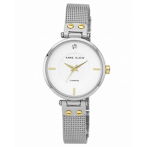 Anne Klein - Ladies silver and gold mesh watch