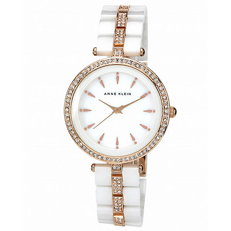 Anne Klein - Ladies white ceramic set with swarovski crystals with rose gold tone watch