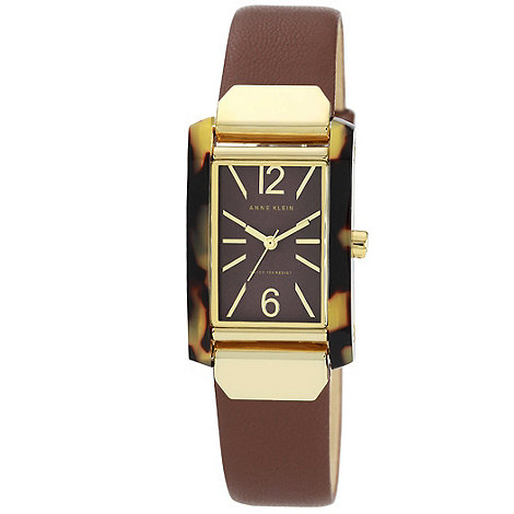 Anne Klein - Ladies brown leather with tortoise shell case watch