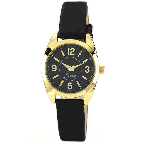 Nine West - Ladies black strap watch with gold tone detailing