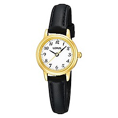 Lorus - Ladies traditional black leather strap watch