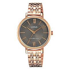 Lorus - Ladies charcoal grey dial rose gold bracelet watch