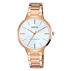 Lorus - Ladies rose gold dress bracelet watch with a soft white dial