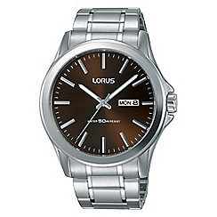 Lorus - Mens dress stainless steel bracelet watch with a dark brown dial