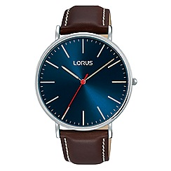 Lorus - Gents large sunray blue dial 3H leather strap dress watch
