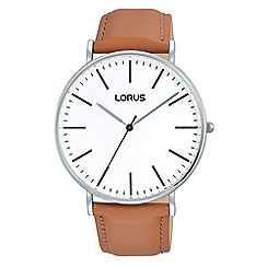 Lorus - Gents large white dial 3H camel leather strap dress watch