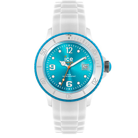 Ice - Unisex large white and turquoise silicone watch