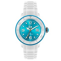 ICE - Unisex small white and turquoise silicone watch