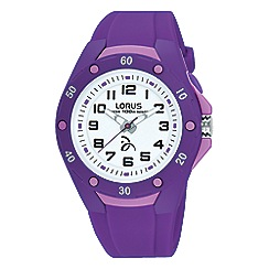 Lorus - Soft purple silicone strap watch with backlight