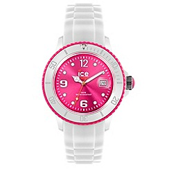 ICE - Unisex large white and pink silicone watch