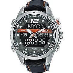 Pulsar - Digital world time & analogue display black strap watch