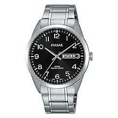 Pulsar - Gents black dial stainless steel bracelet watch