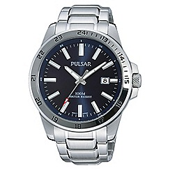 Pulsar - Gents blue dial with date stainless steel bracelet watch