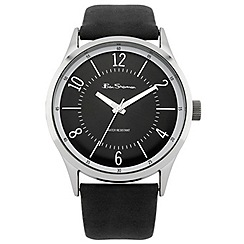 Ben Sherman - Men's black leather strap watch with black dial
