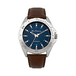 - Men's brown leather strap watch with blue dial