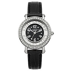 Lipsy - Ladies black croc strap watch with silver tone dial