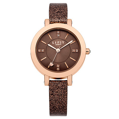 Lipsy - Ladies brown glitter strap watch with brown tone dial
