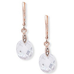 Anne Klein - Rose gold 'Social' faceted cubic zarconia drop earrings